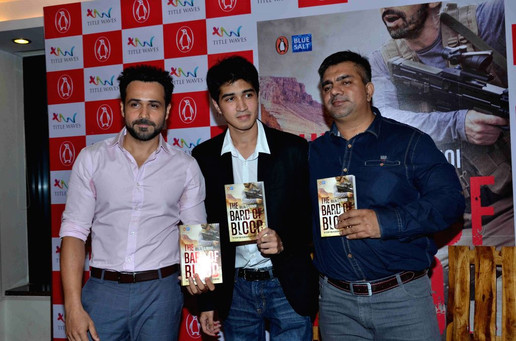 Author Bilal Siddiqi, Actor Emraan Hashmi and Hussain Zaidi during the launch of his book - The Bard of Blood  in Mumbai on 4th May 2015 - Emraan Hashmi