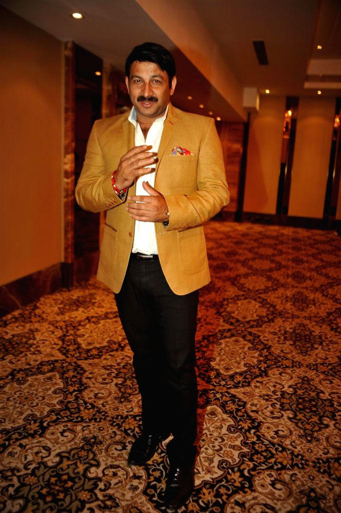 Bhojpuri film actor and BJP Member of Parliament Manoj Tiwari during the launch of 100 hearts, a social initiative by Celebrity Cricket League (CCL) season 5 in partnership with Hrudaya ...