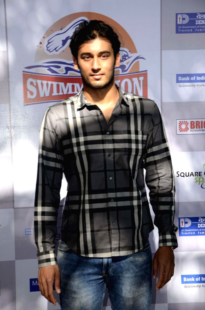 Brand Ambassador of Swimathon 2015 swimmer Virdhawal Khade during a programme organised to promote Swimathon 2015 scheduled to be held in Goa on 22nd February 2015; in Mumbai on Feb 17, 2015.