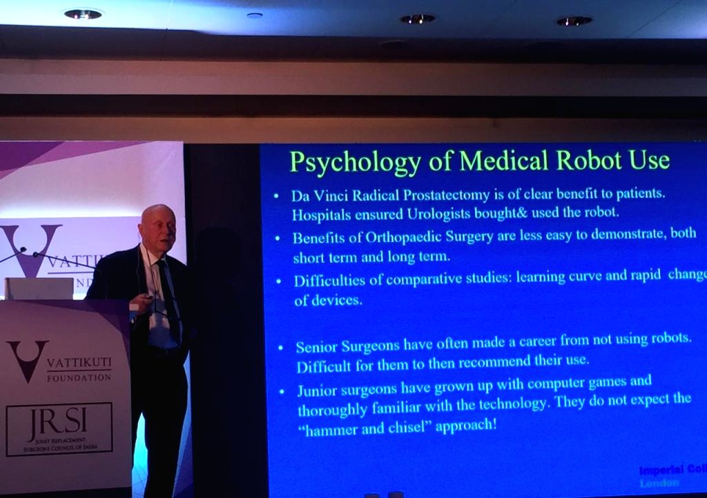 Mumbai: Brian Davis, Professor of Medical Robotics at Imperial College London addressing orthopaedic surgeons during a conference on computer-assisted joint replacement in Mumbai on 28 Sep, 2019. (Photo: IANS)