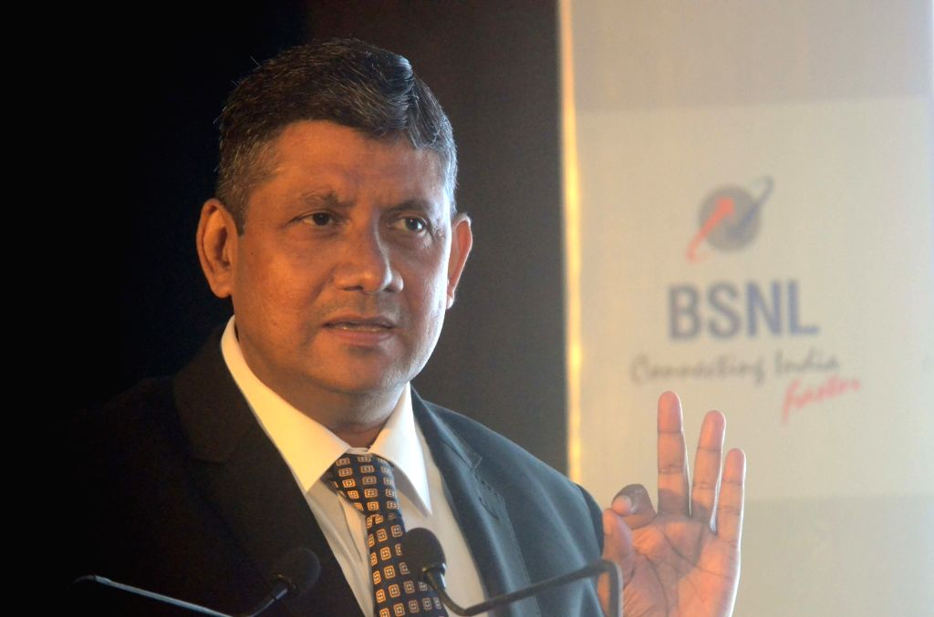 Mumbai: BSNL Chief General Manager Maharashtra Telecom Circle Peeyush Khare addresses during a programme organised to announce a strategic partnership between BSNL and Unlimit, in Mumbai on ...