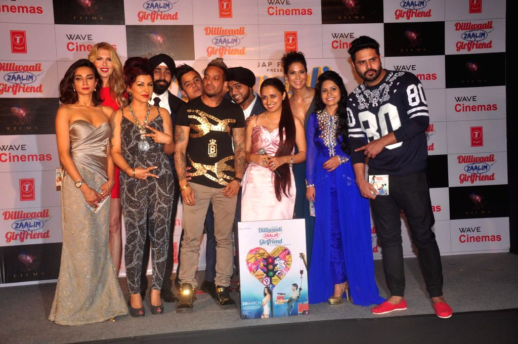 Cast and crew during the music launch of film Dilliwali Zaalim Girlfriend in Mumbai on March 9, 2015.