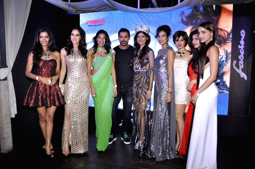 Celebs during the launch of Yamaha Fascino 2015 calendar in Mumbai on 13th Jan 2015