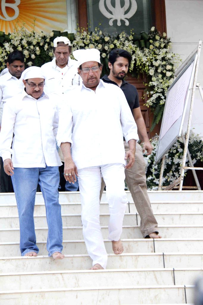 Celebs during the prayer meet of actor Danny`s Manager Madan Mohan in Mumbai on Feb 13, 2015.