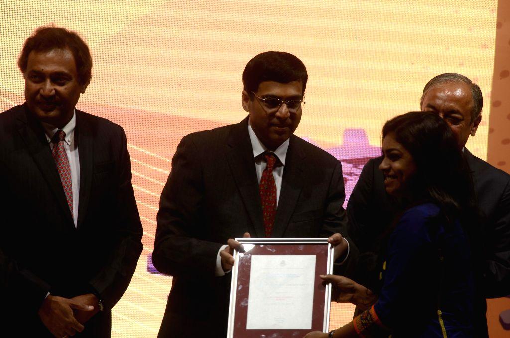 Chess Grandmaster Viswanathan Anand during a programme where he was conferred IMC Ramakrishna Bajaj National Quality Award 2014 at Y B Chavan Auditorium, Mumbai, on March 20, 2015.