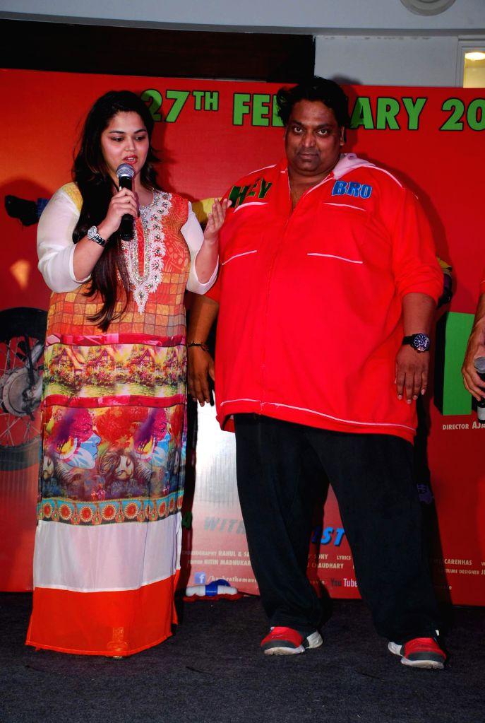 Choreographer Ganesh Acharya with wife Vidhi Acharya during the promotion of his film Hey Bro in Mumbai, on Feb 14, 2015.