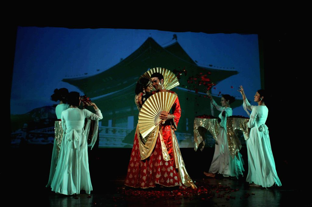 Choreographer Sandip Soparkar with his wife Jesse Randhawa performs based on Indo-Koreon love story of 78AD in Mumbai, on Feb 11, 2015.