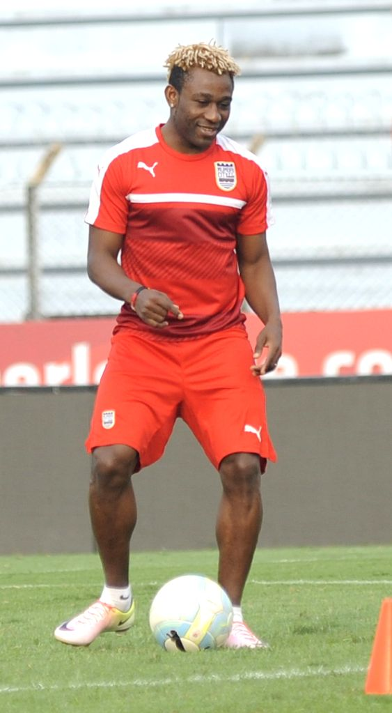 Mumbai City FC player Sony Norde during a practice session in Kolkata on Oct 24, 2016.