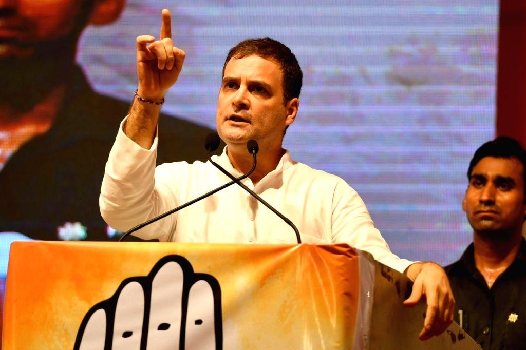 Mumbai: Congress leader Rahul Gandhi addresses a public meeting at Dharavi in Mumbai, on Oct 13, 2019. (Photo: IANS) - Rahul Gandhi