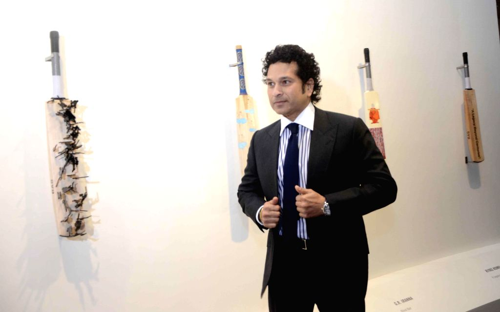 Cricket Legend Sachin Tendulkar during inauguration of `Deconstructed innings` an art exhibition in Mumbai, on Dec 17, 2014.