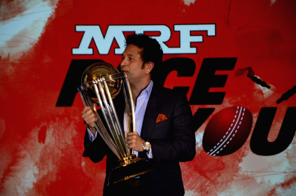 Cricket legend Sachin Tendulkar during `ICC Cricket World Cup 2015 trophy exhibition` in Mumbai on Feb. 7, 2015.