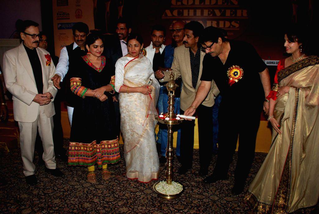 Deepti Naval, Ajaz Khan and Hrishitaa Bhatt during Golden Achiever Awards in Mumbai on Jan 9, 2015. - Ajaz Khan