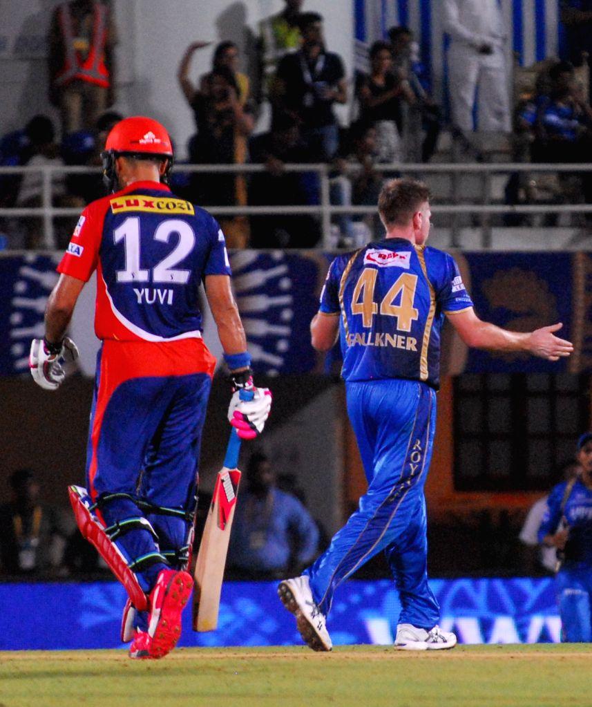 Delhi Daredevils batsman Yuvraj Singh during an IPL-2015 match between Rajasthan Royals  and Delhi Daredevils at the Brabourne Stadium in Mumbai, on May 3, 2015. - Yuvraj Singh