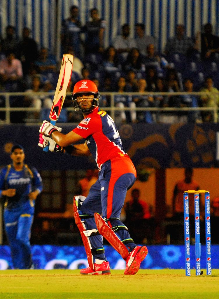 Delhi Daredevils batsman Yuvraj Singh in action during an IPL-2015 match between Rajasthan Royals  and Delhi Daredevils at the Brabourne Stadium in Mumbai, on May 3, 2015. - Yuvraj Singh