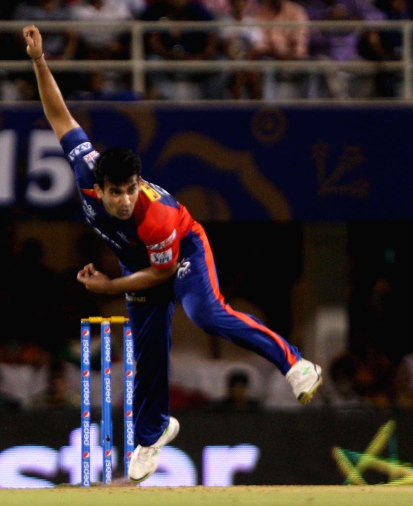 Delhi Daredevils bowler Zaheer Khan during an IPL-2015 match between Rajasthan Royals  and Delhi Daredevils at the Brabourne Stadium in Mumbai, on May 3, 2015. - Zaheer Khan