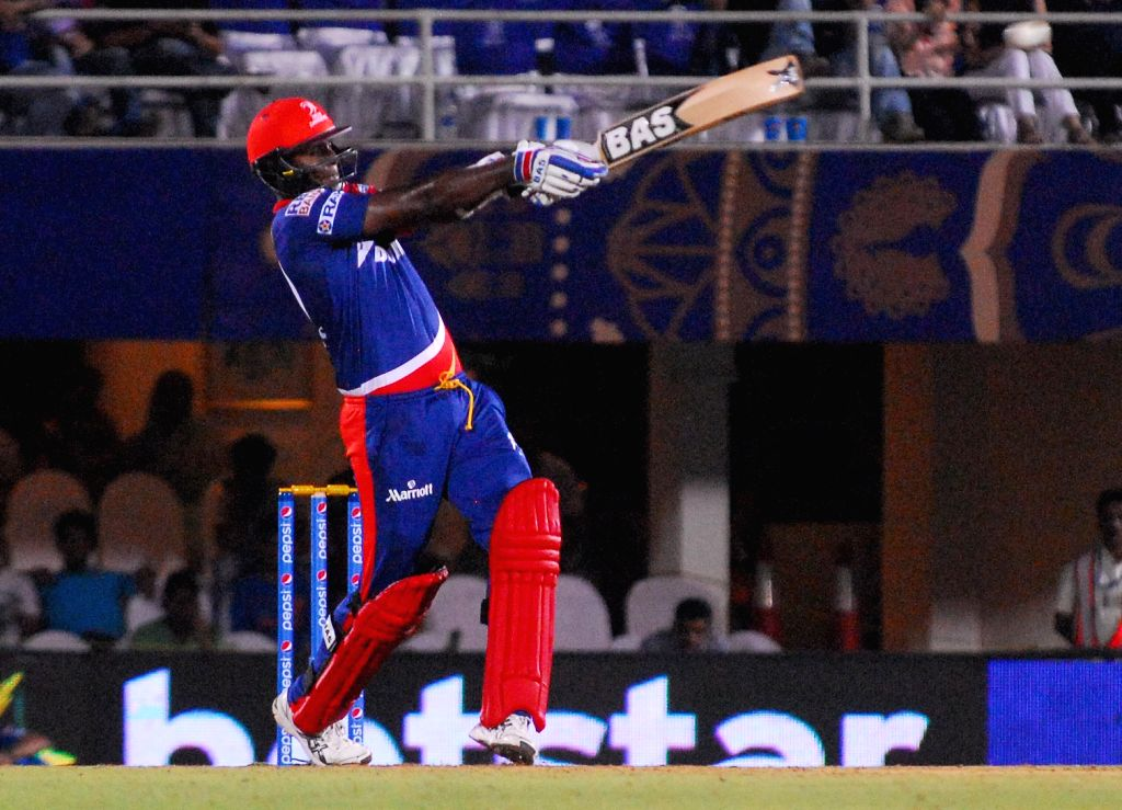 Delhi Daredevils  player Angelo Mathews in action during an IPL-2015 match between Rajasthan Royals  and Delhi Daredevils at the Brabourne Stadium in Mumbai, on May 3, 2015.
