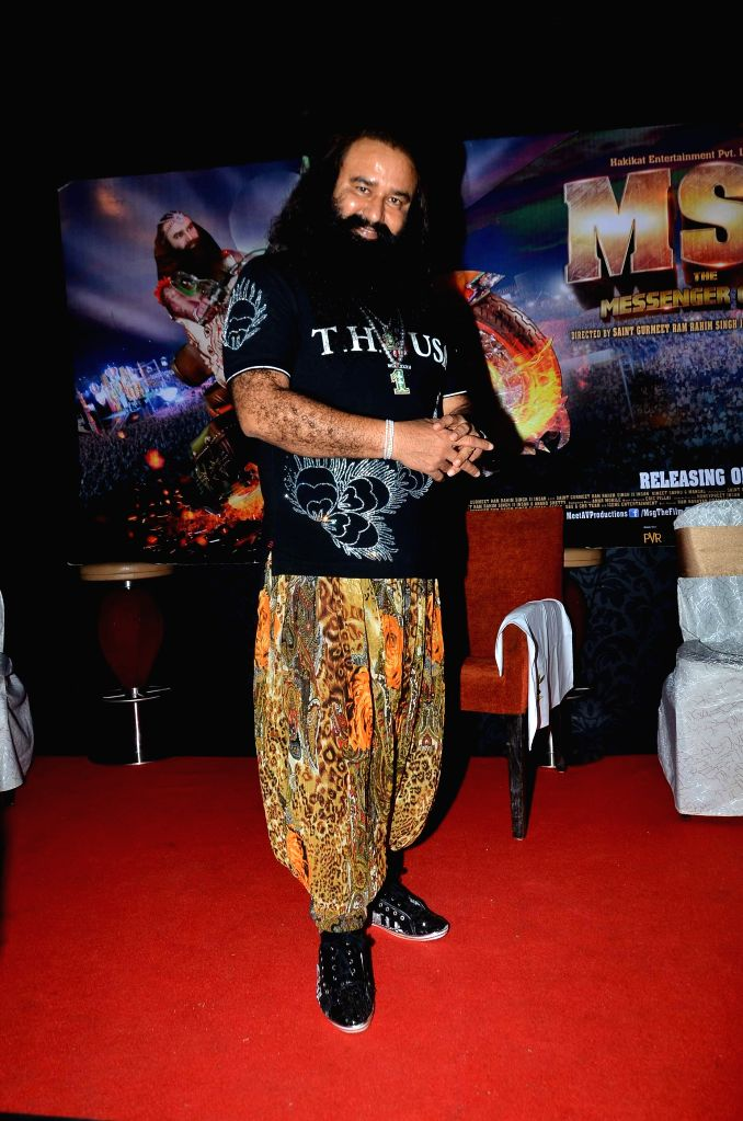 Dera Sacha Sauda spiritual head Gurmeet Ram Rahim Singh during the promotion of his film MSG: The Messenger of God in Mumbai, on Jan. 19, 2015.