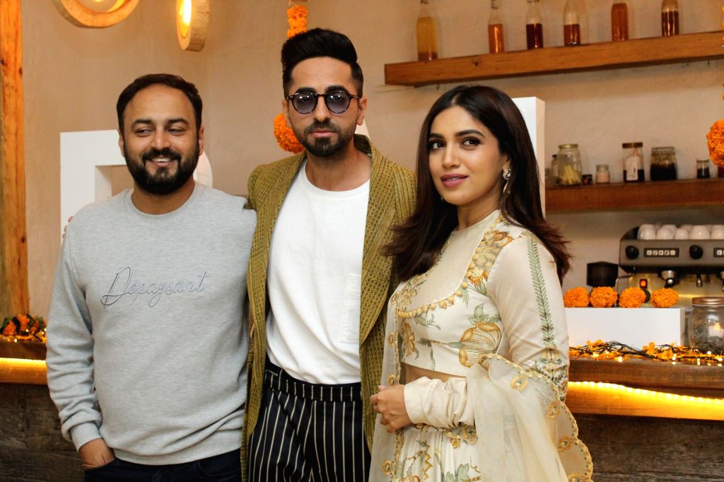 "Mumbai: Director Amar Kaushik with actors Ayushmann Khurrana and Bhumi Pednekar at Diwali brunch during the promotions of their upcoming film ""Bala"" in Mumbai on Oct 25, 2019. (Photo: IANS) - Ayushmann Khurrana and Bhumi Pednekar"