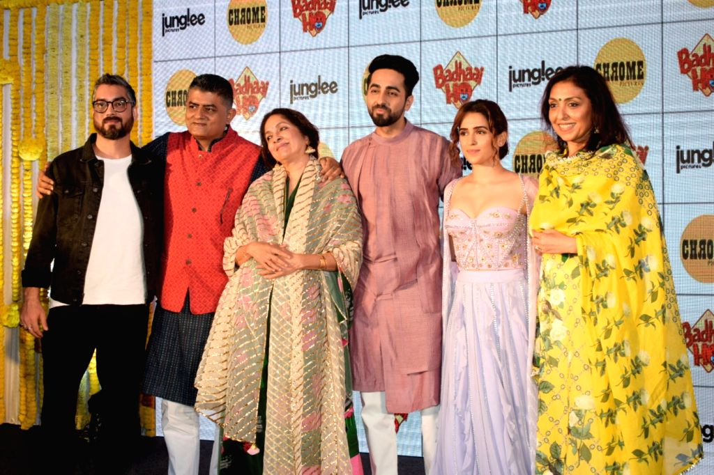 :Mumbai: Director Amit Sharma, actors Gajraj Rao, Neena Gupta, Ayushmann Khurrana and Sanya Malhotra during a baby shower for expecting mothers in Mumbai on Oct 10, 2018.(Photo: IANS).