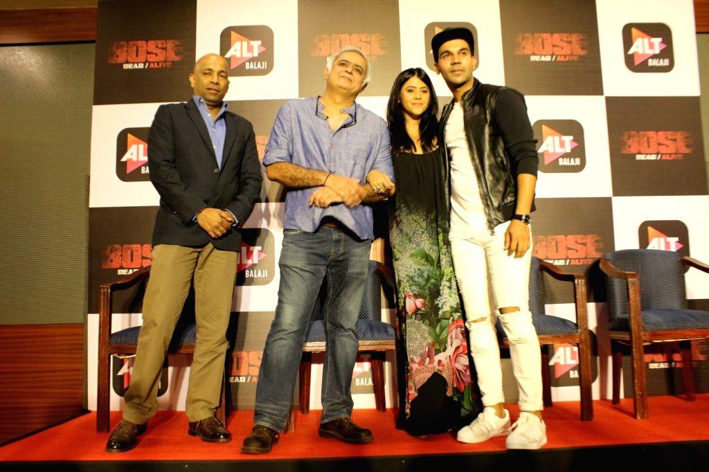 "Mumbai: Director Hansal Mehta ,Producer Ekta Kapoor and Actor Rajkummar Rao during the trailer launch of upcoming web-series ""Bose: Dead/Alive"" in Mumbai on Aug 18, 2017. - Rajkummar Rao, Hansal Mehta and Ekta Kapoor"