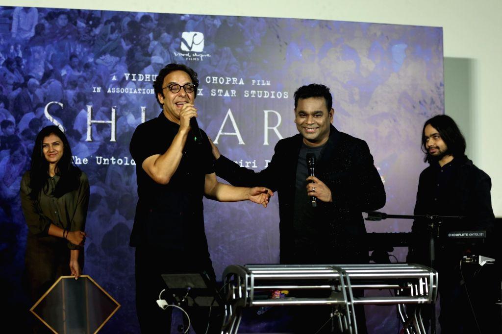 "Mumbai: Director Vidhu Vinod Chopra and music Director A. R. Rahman at the trailer launch of their upcoming film ""Shikara - The Untold Story of Kashmiri Pandits"" in Mumbai on Jan 7, 2020. (Photo: IANS) - Vidhu Vinod Chopra"