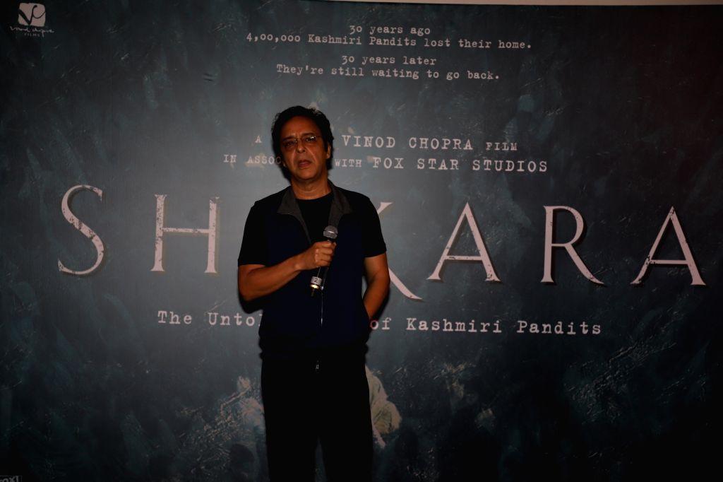 "Mumbai: Director Vidhu Vinod Chopra at the special screening of his upcoming feature film ""Shikara - The Untold Story of Kashmiri Pandits"" in Mumbai on Jan 29, 2020. (Photo: IANS) - Vidhu Vinod Chopra"