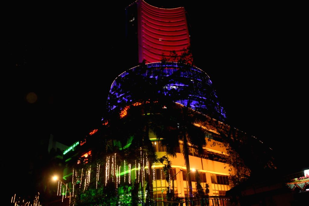 "Mumbai :Diwali festival in part  ""Lakshmi Pooja "" organised colourfully lighting on BSE building in Mumbai on Saturday November 14, 2020."
