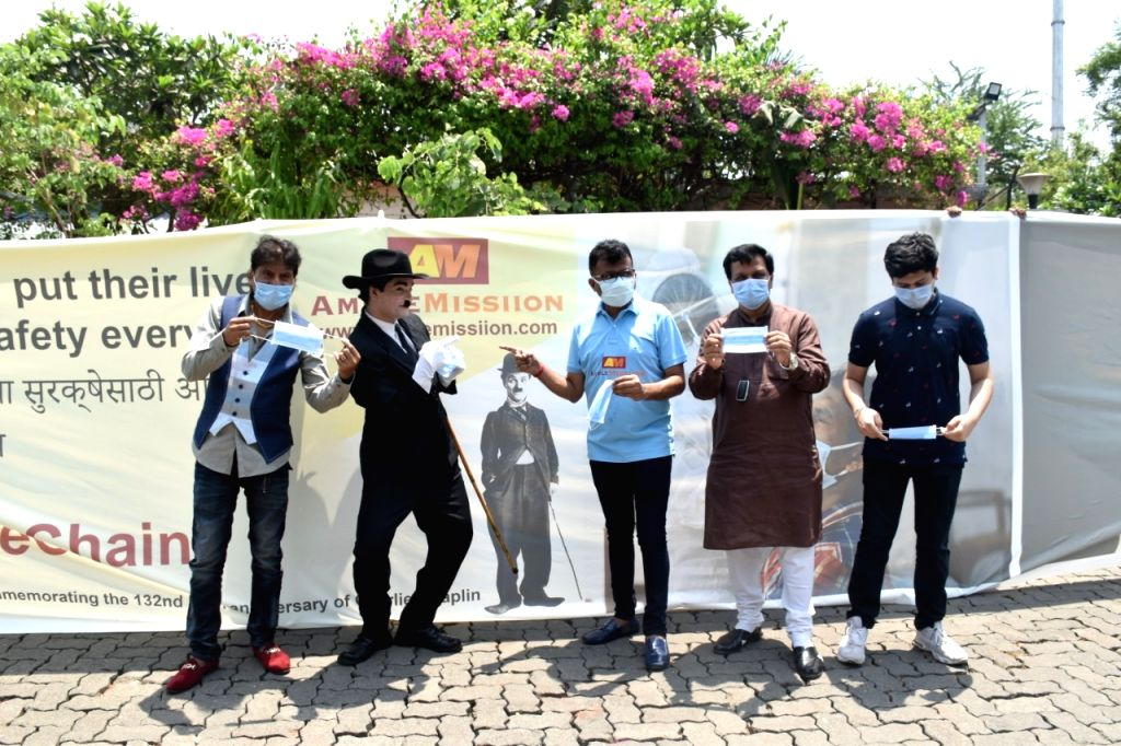 Mumbai 'dons' 55-ft-long face-mask on Charlie Chaplin's 132nd birth anniv.
