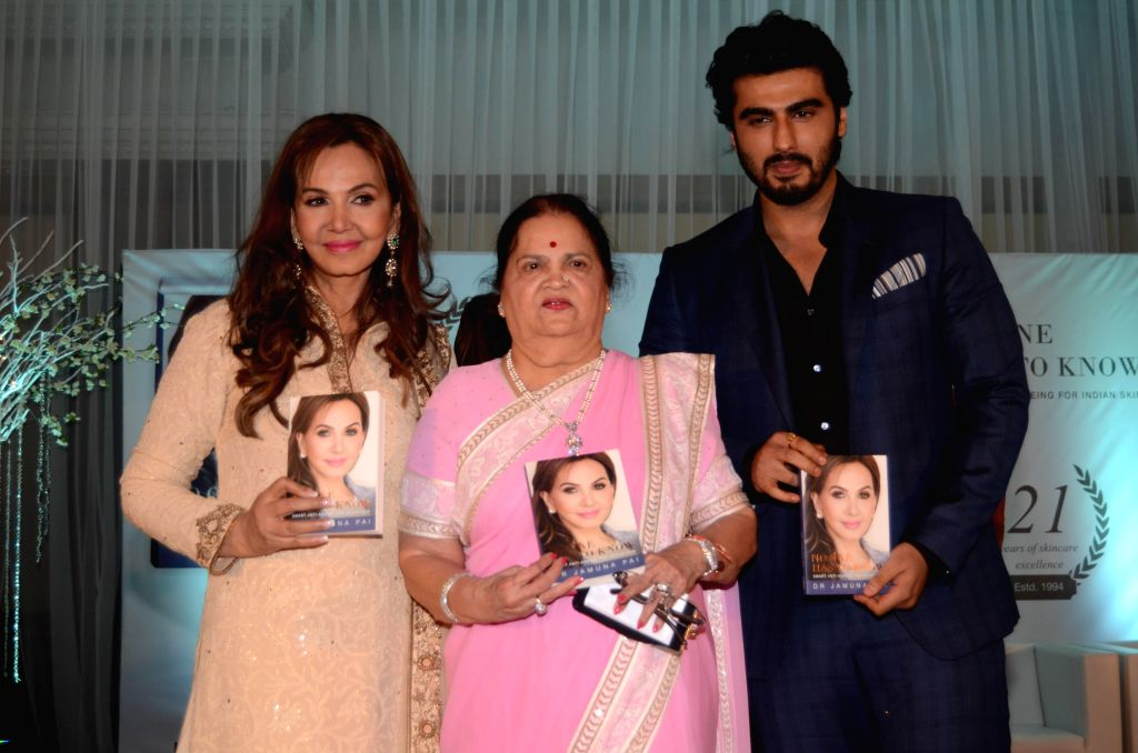 Dr Jamuna Pai with Kokilaben Ambani and Bollywood actor Arjun Kapoor during the launch of her book No One Has to Know, the ultimate skin care and Anti Ageing Guide in Mumbai on Tuesday, Jan .. - Arjun Kapoor and Kokilaben Ambani