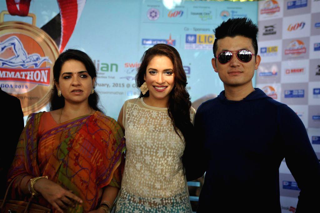 Fashion designer and politician Shaina NC, actors Rashmi Nigam and Meiyang Chang at Swimmathon 2015 press conference in Mumbai on Feb 17, 2015. (Photo : IANS)
