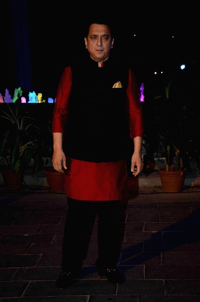 Ffilmmaker Sajid Nadiadwala during the wedding reception of Bollywood filmmaker Smita Thackeray`s son Rahul Thackeray and Dr. Aditi Thackeray in Mumbai on Feb 13, 2015.