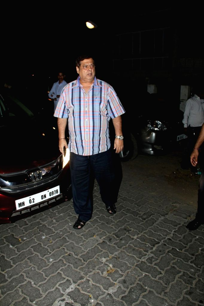 Filmmaker David Dhawan arrive for actor Anil Kapoor`s get-together to share the trailer of the film Dil Dhadakne Do, in Mumbai on 13th April 2015. - David Dhawan
