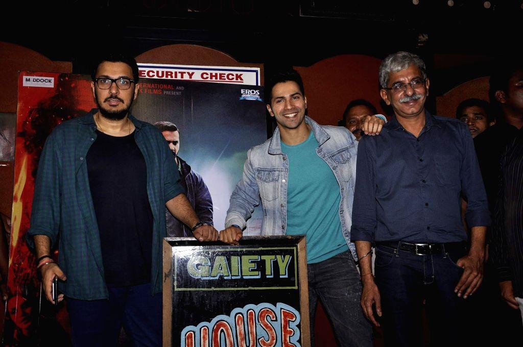 Filmmaker Dinesh Vijan, actor Varun Dhavan and filmmaker Sriram Raghavan during the promotion of film Badlapur in Mumbai on Feb 21, 2015. - Dinesh Vijan
