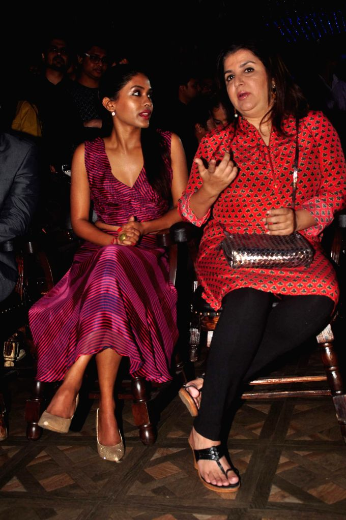 Filmmaker Farah Khan along with actor Anjali Patil during music launch of film Mrs Scooter in Mumbai, on Jan. 19, 2015. - Farah Khan and Anjali Patil