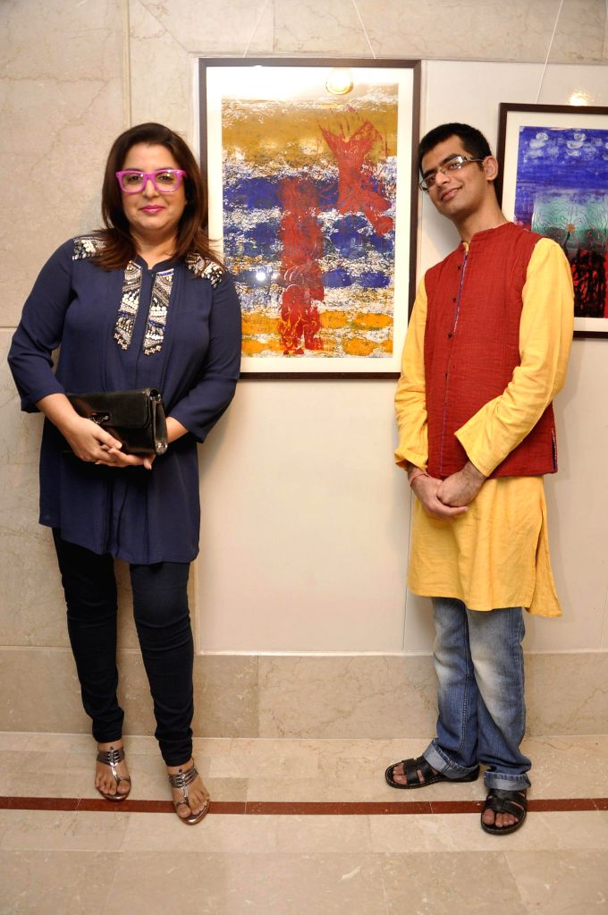 Filmmaker Farah Khan during the inauguration of an art exhibition held at the Leela Hotel in Mumbai on 28th January 2015.