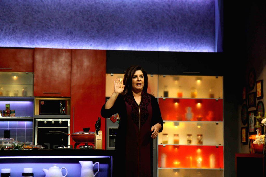 Filmmaker Farah Khan during the launch of Color TV new cookery show, Farah Ki Daawat in Mumbai on  18th Feb, 2015. - Farah Khan