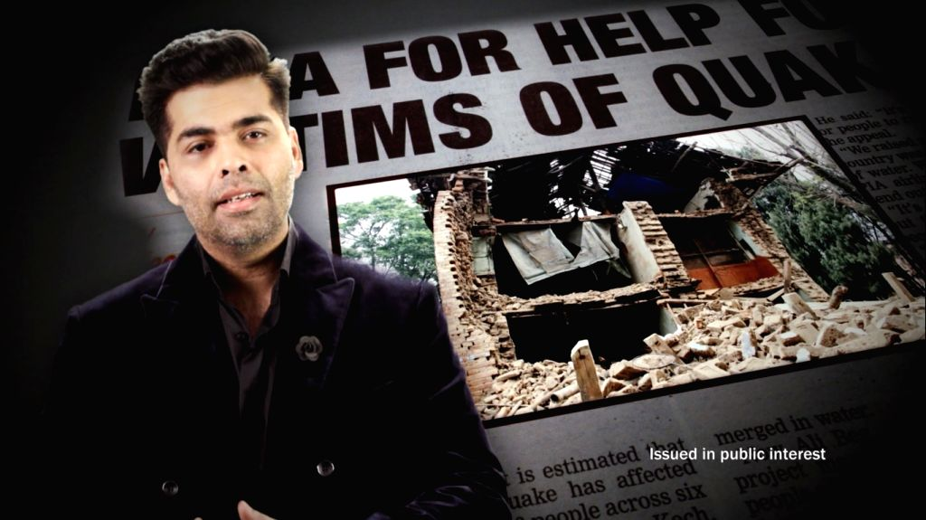 Filmmaker Karan Johar urges people to donate towards relief of Nepal earthquake victims.