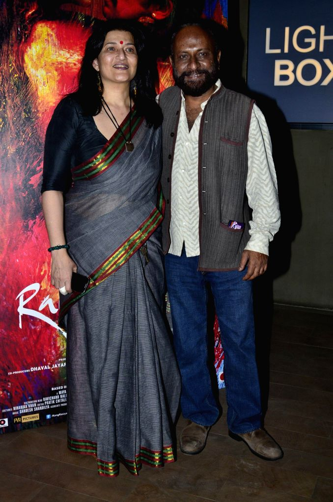 Filmmaker Ketan Mehta and actor Sarika during the screening of film Rang Rasiya, in Mumbai, on Nov. 4, 2014. - Ketan Mehta