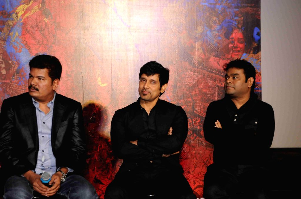Filmmaker Shanker and actor Vikram and Music director A R Rehman during the press conference and trailer launch of forthcoming Tamil film `I` in Mumbai on Dec 29, 2014. - Shanker and A R Rehman