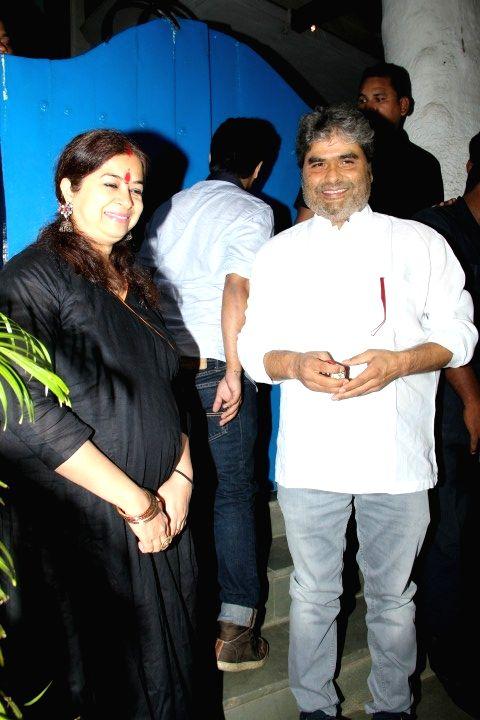 Filmmaker Vishal Bhardwaj with wife Rekha Bhardwaj at the party hosted by Deepika padukone for the succes of film Piku, in Mumbai, on May 18, 2015. - Vishal Bhardwaj and Rekha Bhardwaj