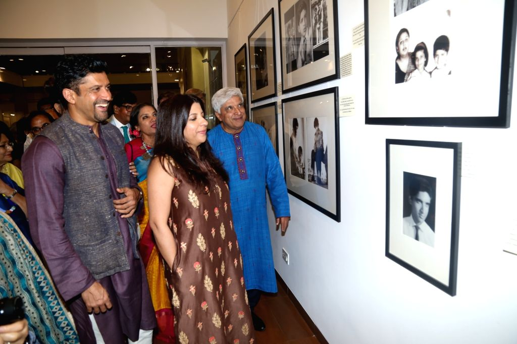 Mumbai: Filmmaker Zoya Akhtar and actor Farhan Akhtar during an exhibition curated by photojournalist Pradeep Chandra and film historian SMM Ausaja on their father Javed Akhtar's birthday in Mumbai on Jan 15, 2020. (Photo: IANS) - Zoya Akhtar and Farhan Akhtar