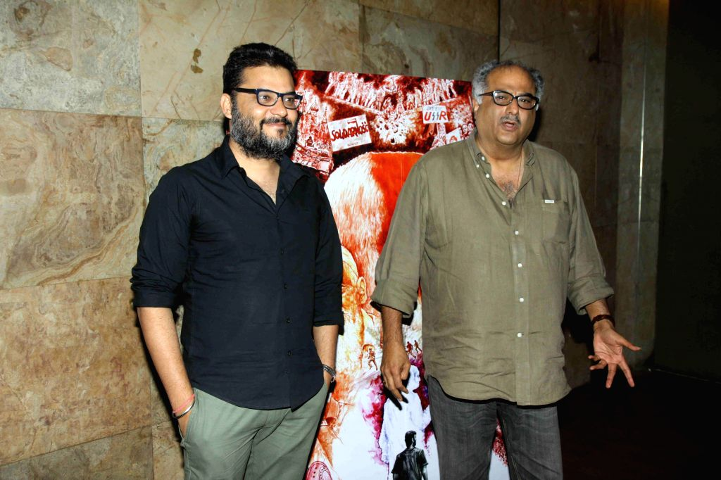 Filmmakers Boney Kapoor and Atul Sabhaewal during the screening of film In Their Shoes in Mumbai, on March 10, 2015. - Boney Kapoor and Atul Sabhaewal