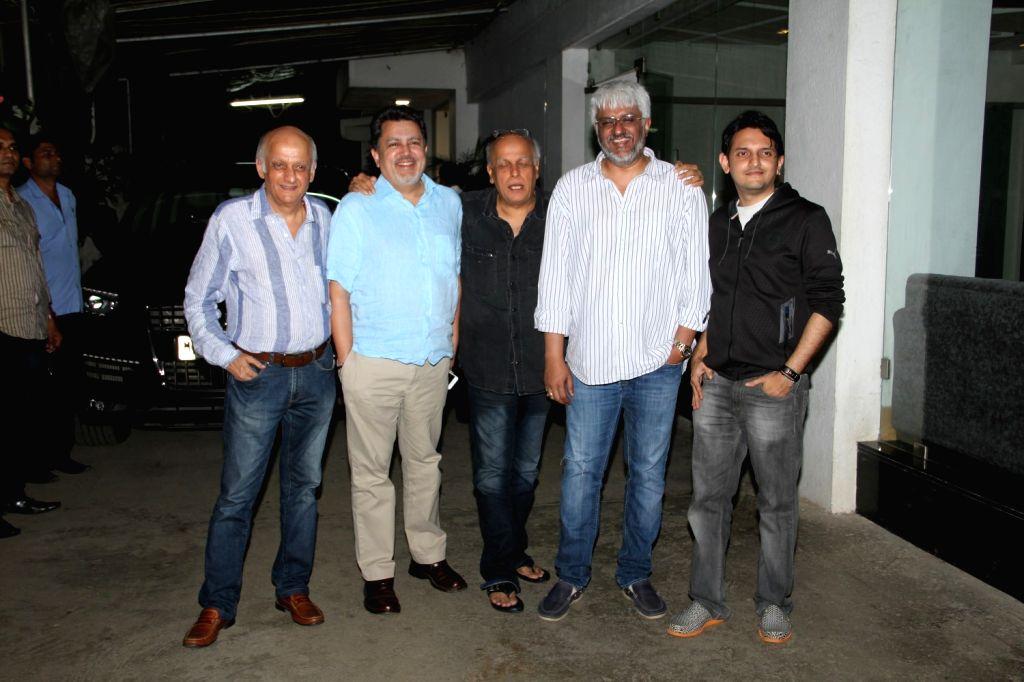 Filmmakers Mahesh Bhatt, Vikram Bhatt and Vishesh Bhatt during the screening of Film Mr.X in Mumbai on April 2, 2015. - Mahesh Bhatt, Vikram Bhatt and Vishesh Bhatt