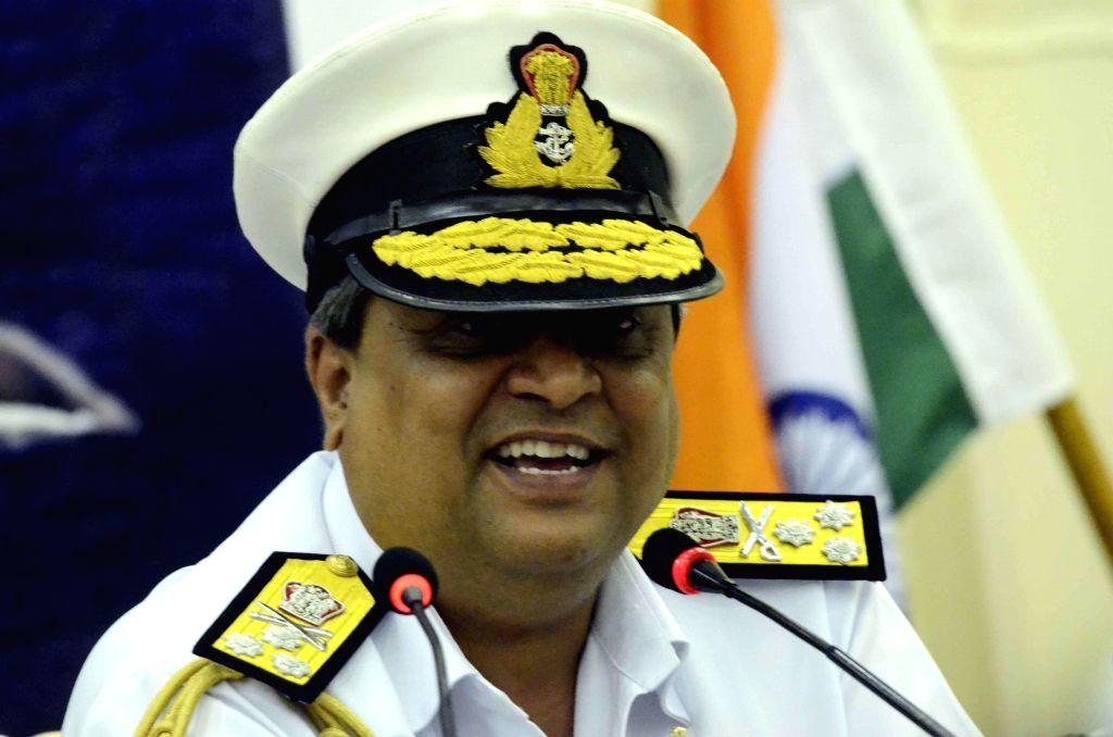 Flag Officer Commanding-in-Chief, Western Naval Command Vice Admiral Anil Chopra addresses press aboard INS Vikramaditya, off Mumbai coast on Dec 3, 2014.