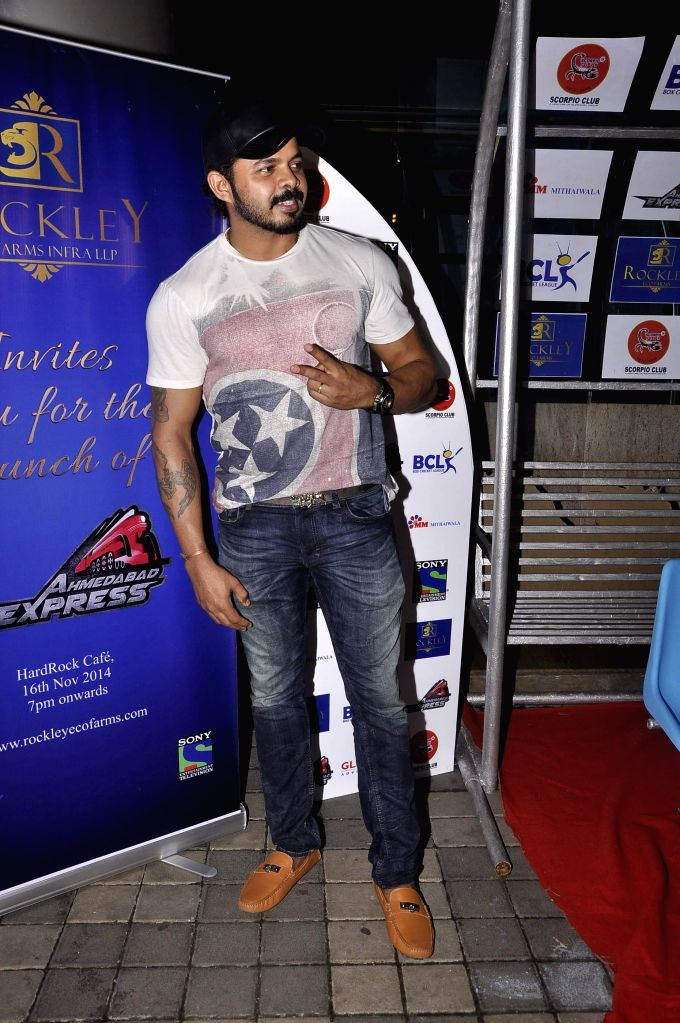 Former cricketer S Sreesanth during the promo and jersey launch of Box Cricket League`s (BCL) Ahmedabad Express team in Mumbai, on November 16, 2014.
