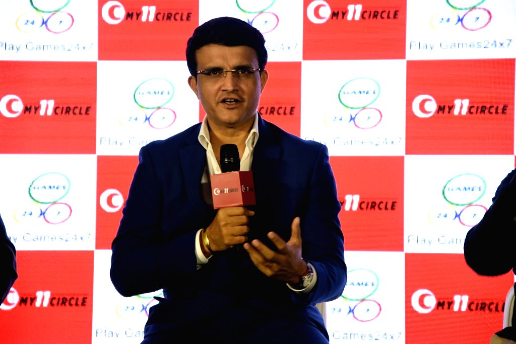 """Mumbai: Former Indian cricket captain and Cricket Association of Bengal (CAB) President Sourav Ganguly addresses at the launch of """"My 11 Circle"""" Gaming app in Mumbai on Aug 23, 2019. (Photo: IANS) - Sourav Ganguly"""
