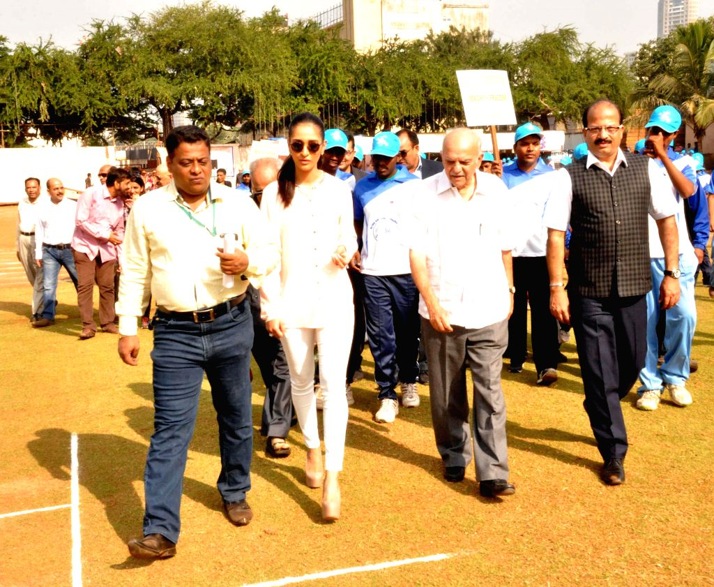 Former Indian cricketer Madhav Apte and Miss India Earth Alankrita Sahai at the inauguration of a National Blind Cricket Tournament match between Maharashtra and Punjab at the Islam Gymkhana .