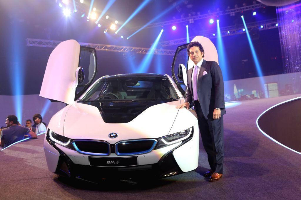 Former Indian cricketer Sachin Tendulkar during the launch of BMW i8 hybrid sports car in Mumbai on February 18, 2015. - Sachin Tendulkar