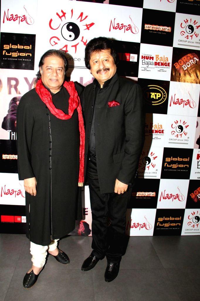 Ghazal singer Pankaj Udhas and Bhajan singer Anup Jalota during the music launch of film Hum Baaja Baja Denge in Mumbai, on March 17, 2015.