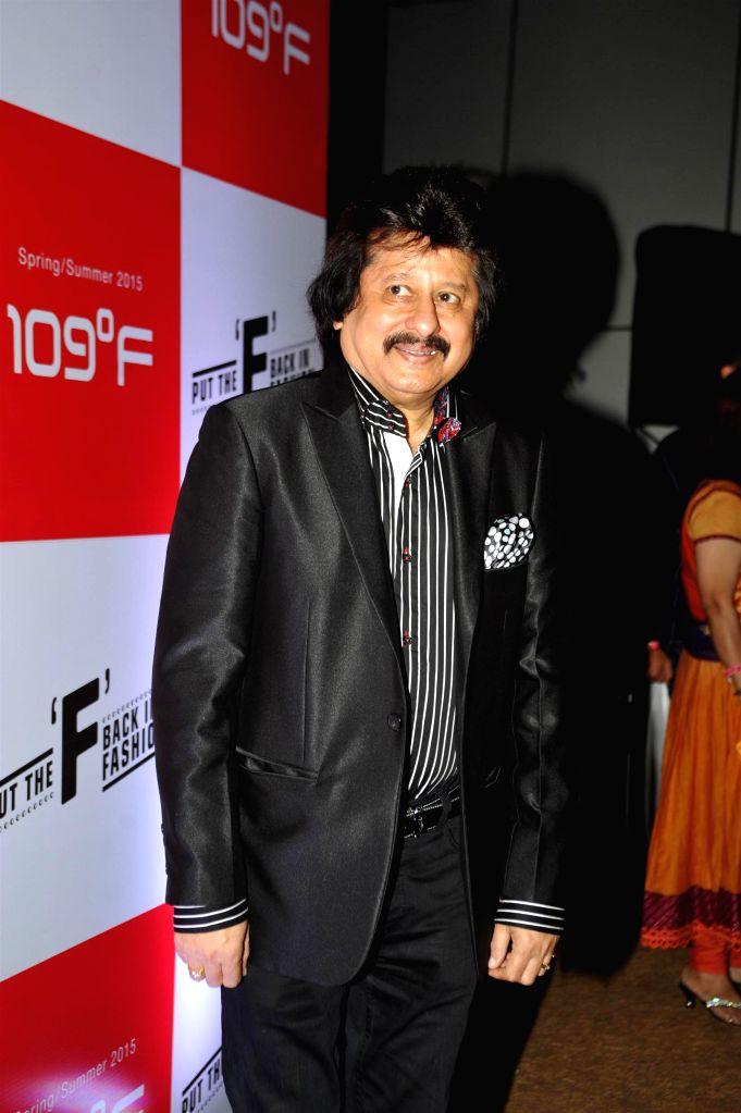 Ghazal singer Pankaj Udhas during the 109F, fashion show and felicitation of young women achievers in Mumbai on Feb 17, 2015. (Photo : IANS)
